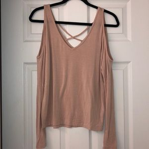 Blush pink long sleeve fashion top from Express